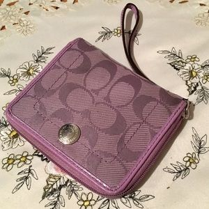 Coach Signature Pirple Small Wallet Wristlet